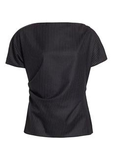 Dries Van Noten Short-Sleeve Wool Pinstripe Top