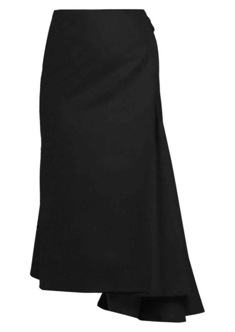 Dries Van Noten Side Sash Asymmetric Wool-Blend Midi Skirt