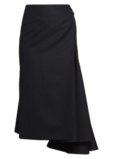 Dries Van Noten Side Sash Pinestripe Asymmetric Wool-Blend Midi Skirt