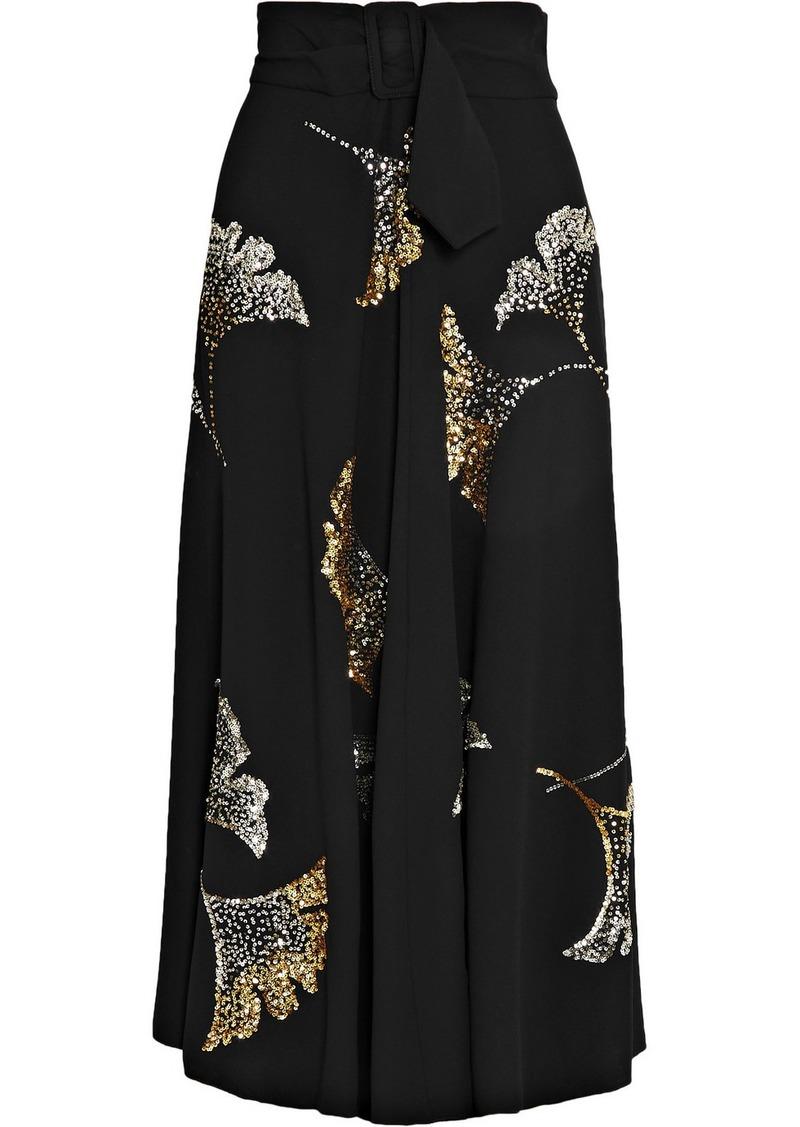 Dries Van Noten Simiana Belted Sequin-embellished Crepe Midi Skirt