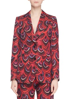 Dries Van Noten Single-Breasted Two-Button Peacock-Jacquard Blazer