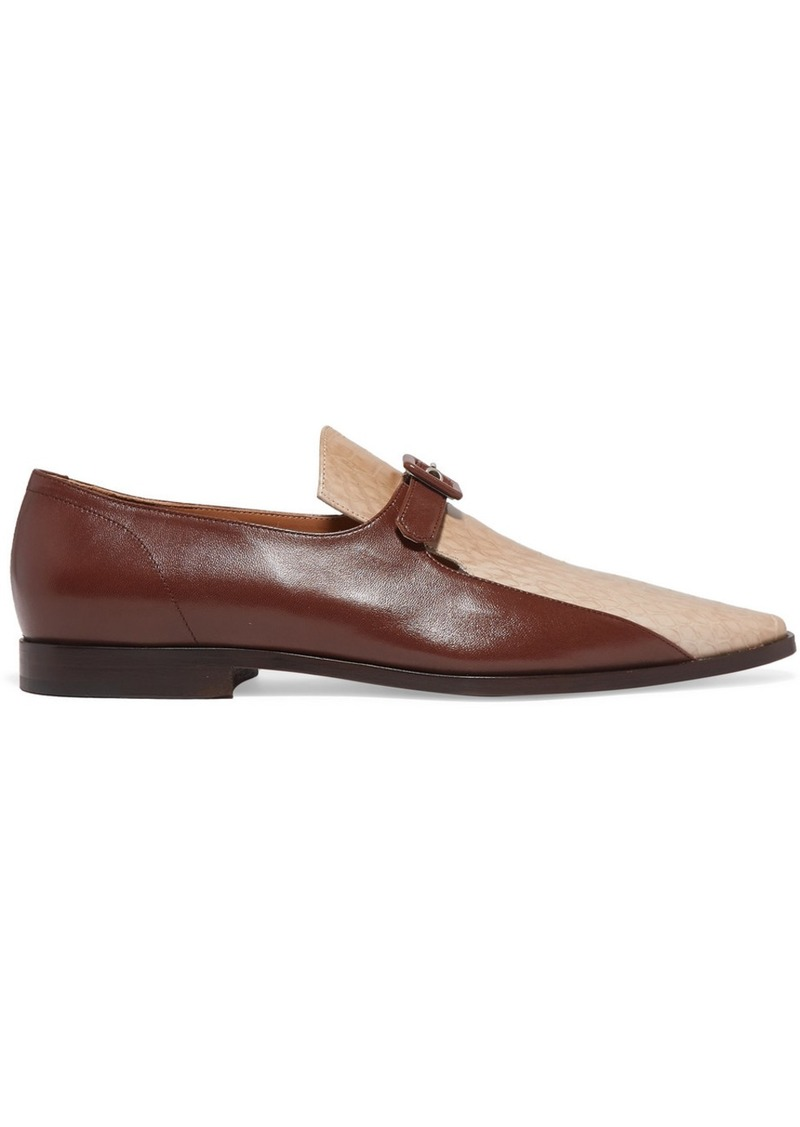 Dries Van Noten Smooth And Snake-effect Leather Loafers