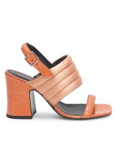 Dries Van Noten Snakeskin Embossed Block Heel Sandals