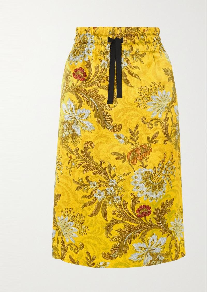 Dries Van Noten Solidos Floral-print Silk-jacquard Skirt
