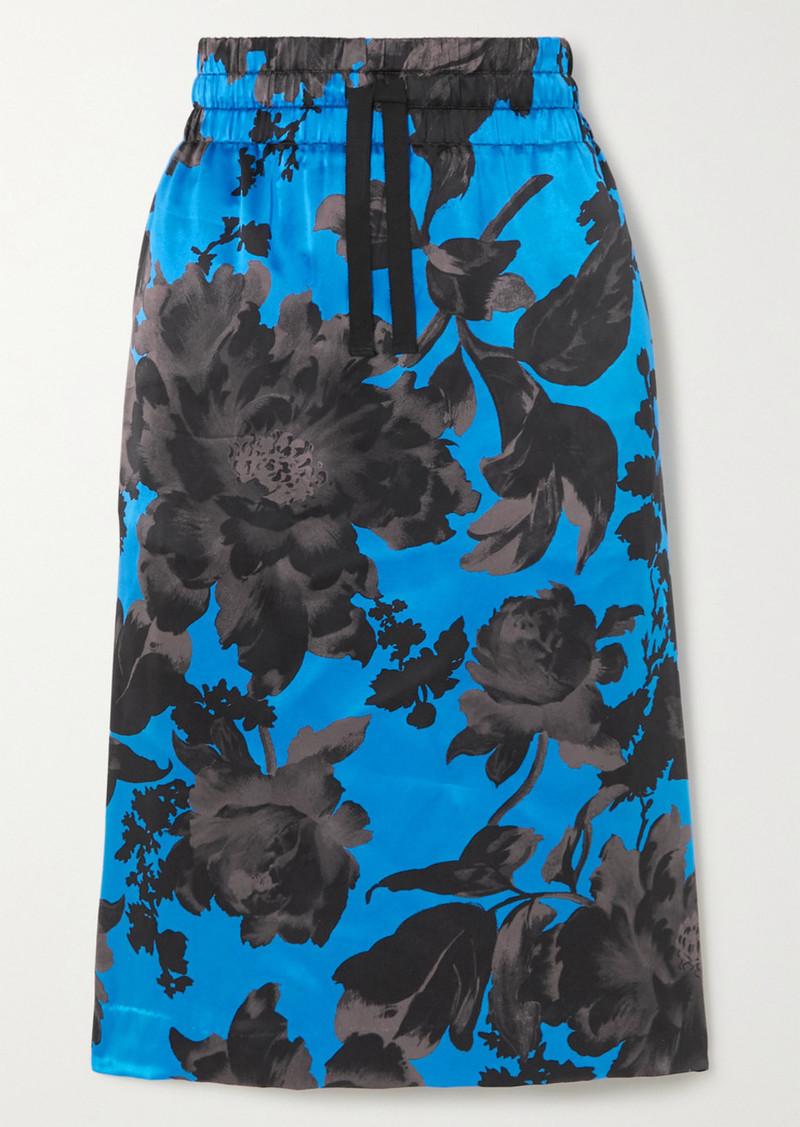 Dries Van Noten Solidos Floral-print Silk-satin Skirt