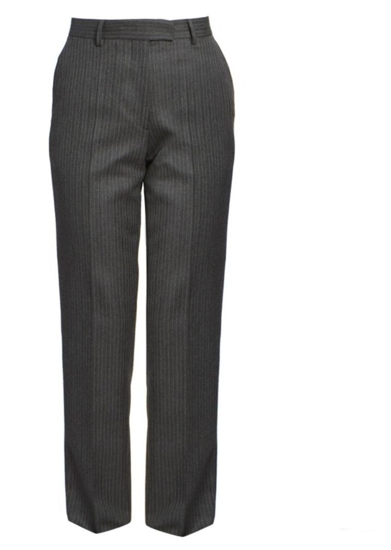 Dries Van Noten Straight-Leg Wool Pinstripe Flat Pants
