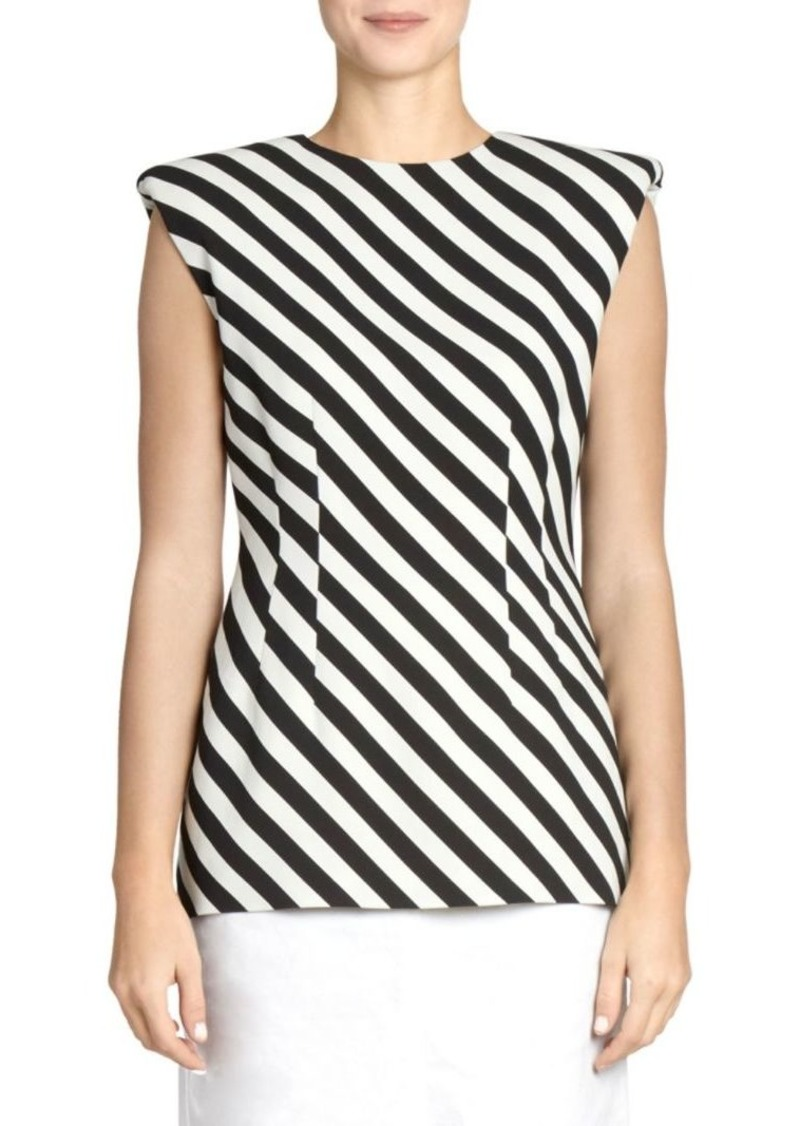 Dries Van Noten Striped Rolled Shoulder Top
