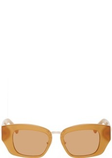 Dries Van Noten Tan Linda Farrow Edition Rectangular Sunglasses