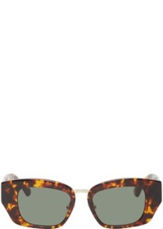 Dries Van Noten Tortoiseshell Linda Farrow Edition Rectangular Sunglasses