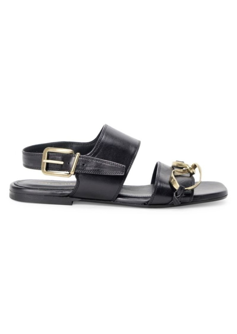 Dries Van Noten Twisted-Hardware Leather Flat Sandals
