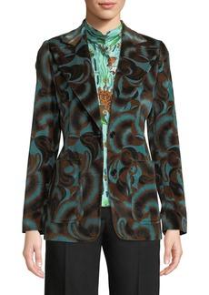 Dries Van Noten Two-Button Abstract Floral-Print Velvet Jacket