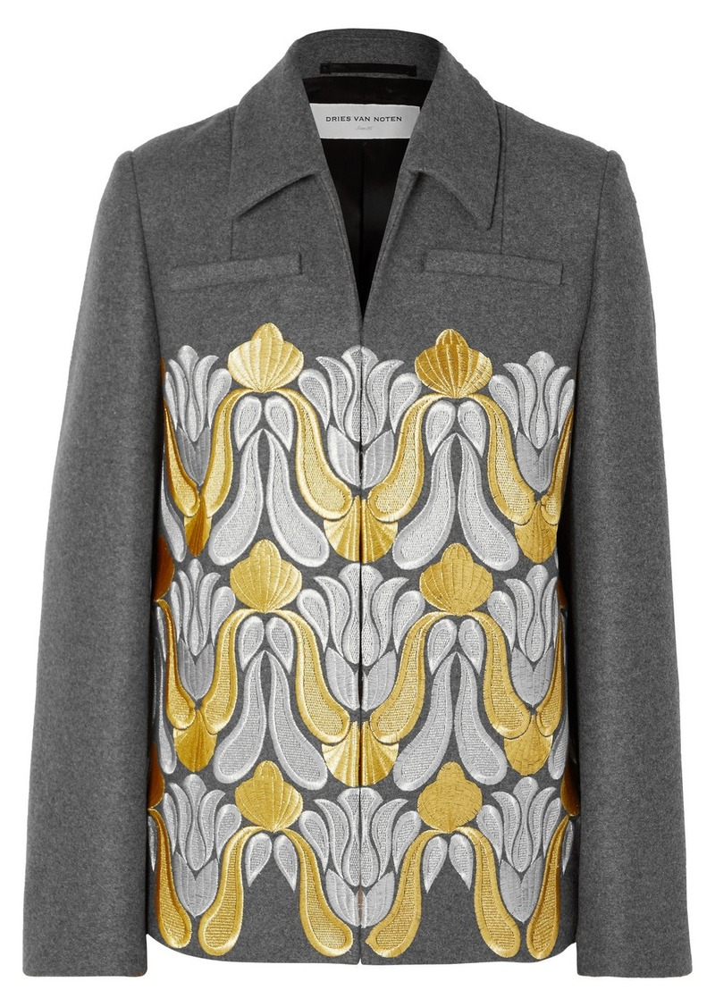 Dries Van Noten Valery Embroidered Metallic Wool-blend Jacket