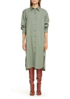 Women's Dries Van Noten Dayley Stripe Oversize Long Sleeve Poplin Shirtdress