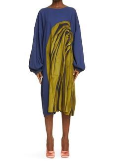 Women's Dries Van Noten Duben Drape Print Oversize Long Sleeve Shift Dress
