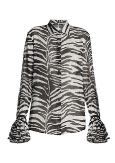 Dries Van Noten Zebra-Print Ruffle-Cuff Shirt