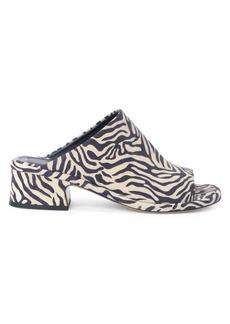 Dries Van Noten Zebra-Print Suede Mules