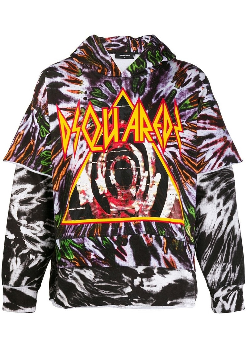 Dsquared2 tie-dye layered hoodie