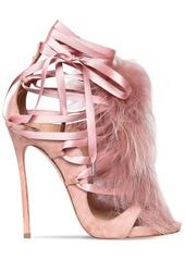 Dsquared2 120mm Riri Suede Lace-up Sandals W/ Fur
