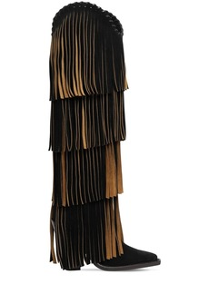 Dsquared2 120mm Western Fringe Suede Tall Boots