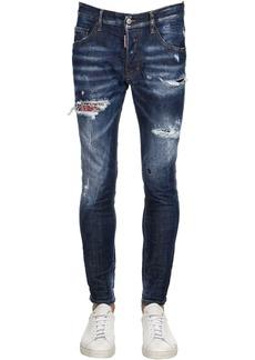Dsquared2 16.5cm Skater Floral Patch Denim Jeans