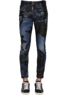 Dsquared2 17cm Camo Tidy Biker Cotton Denim Jeans