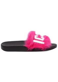 Dsquared2 20mm Logo Lapin Fur Slide Sandals