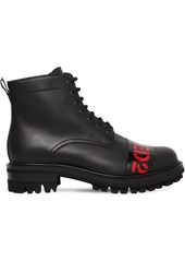 Dsquared2 30mm Logo Leather Combat Boots