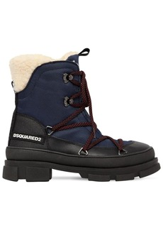 Dsquared2 40mm Faux Leather & Denim Hiking Boots