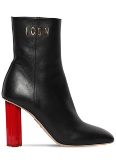 Dsquared2 90mm  Leather Ankle Boots W/ Leaf Heel