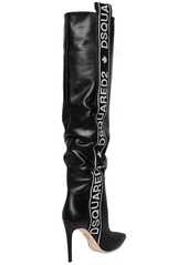 Dsquared2 90mm Logo Leather Over The Knee Boots