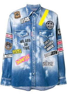 Dsquared2 all-over print denim shirt