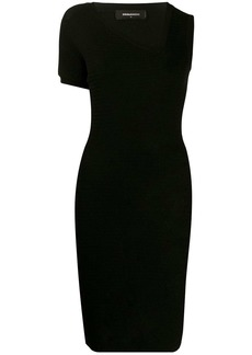 Dsquared2 asymmetric sleeve ribbed dress