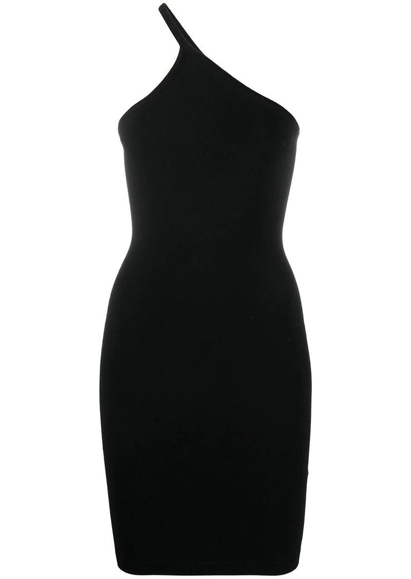 asymmetric strap mini dress