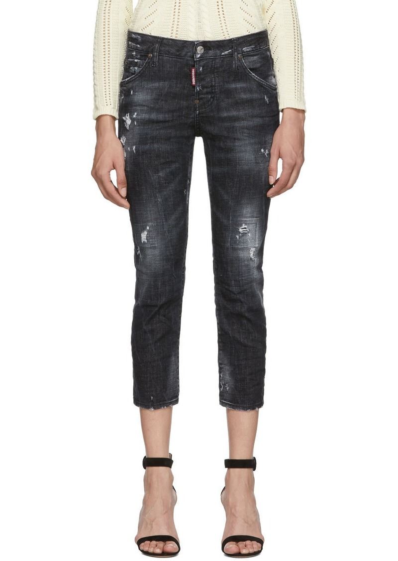 Dsquared2 Black Denim Good Girl Cropped Jeans
