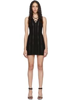 Dsquared2 Black Lace-Up Short Dress