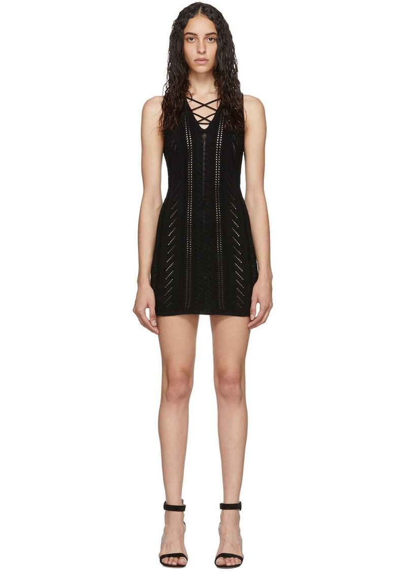 Dsquared2 Black Lace-Up Short Dress