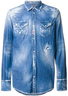 Dsquared2 bleached effect denim shirt