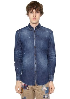 Dsquared2 Bleached Stretch Cotton Denim Shirt