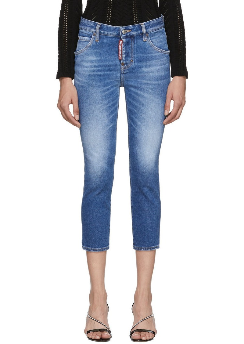 Dsquared2 Blue Denim Good Girl Cropped Jeans