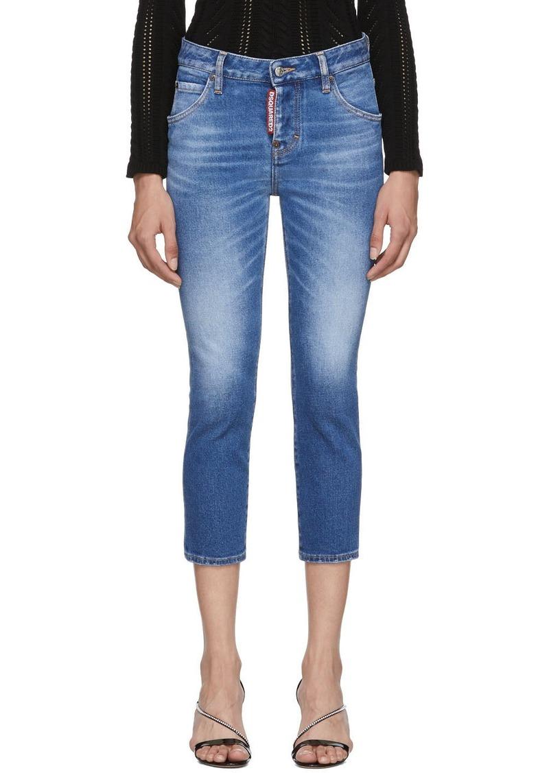 Dsquared2 Blue Denim Good Girl Cropped Jeans