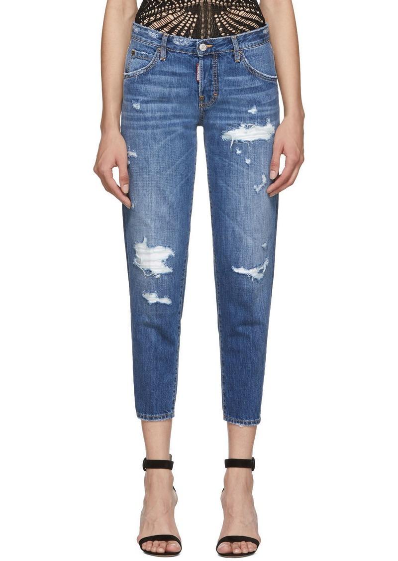 Dsquared2 Blue Denim Hockney Ripped Jeans