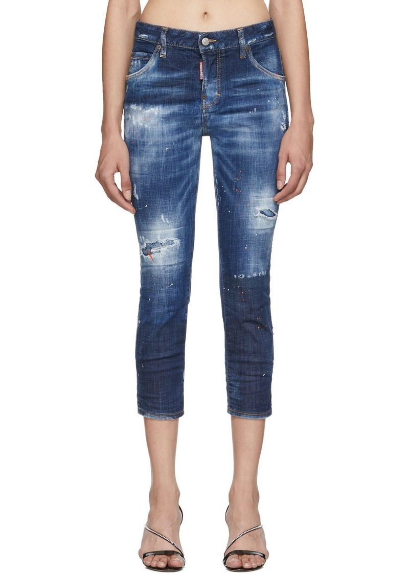 Dsquared2 Blue Denim Macchia Cool Girl Cropped Jeans