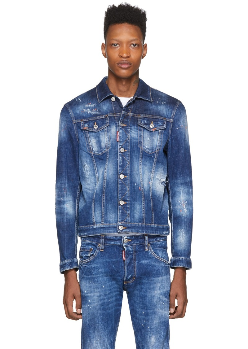 Dsquared2 Blue Denim Orange Macchia Denim Jacket