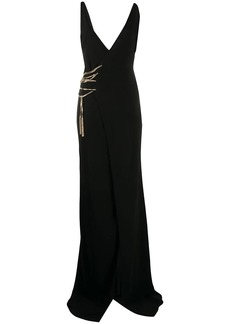 Dsquared2 chain-laced asymmetric maxi dress