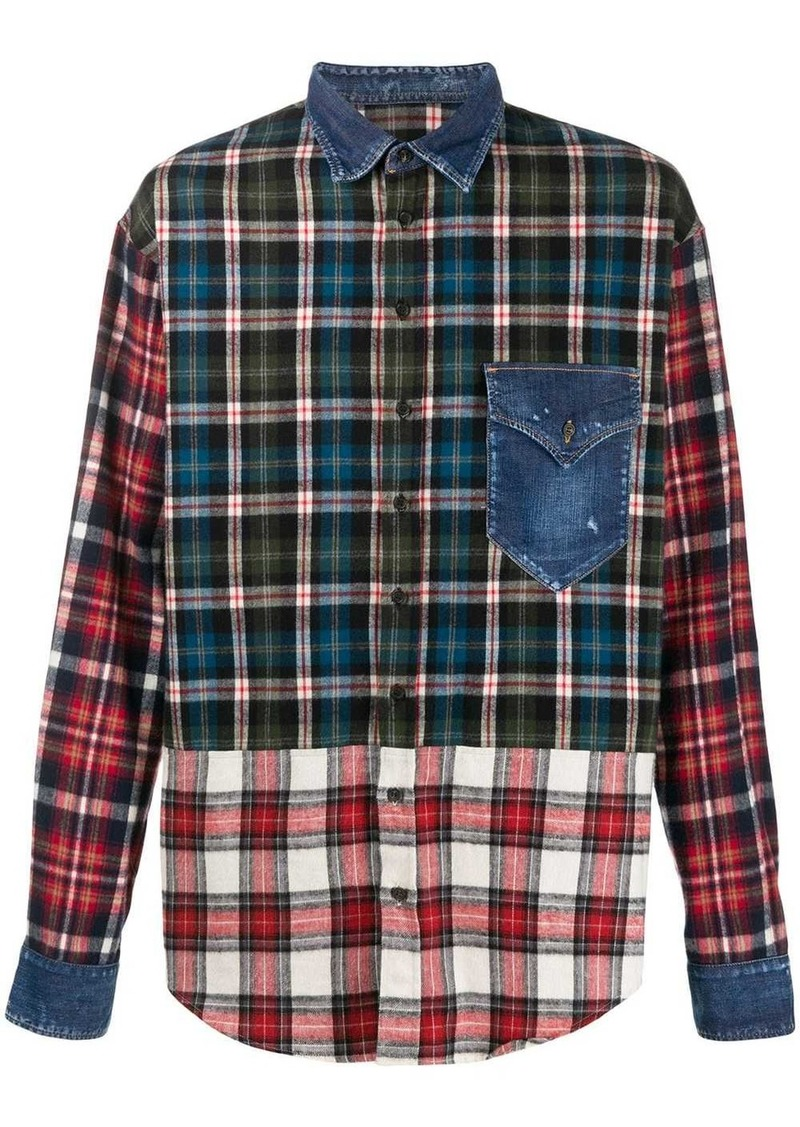 Dsquared2 check patchwork shirt