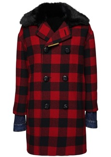 Dsquared2 Check Wool Coat W/ Faux Fur Collar