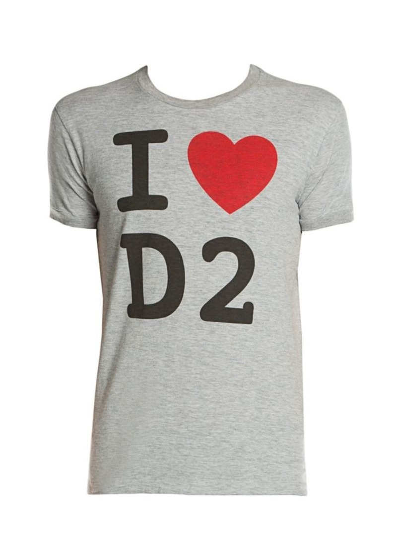 Dsquared2 Chic Dan Fit I Love D2 Graphic Print Tee