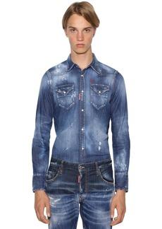 Dsquared2 Classic Fit Stretch Cotton Denim Shirt