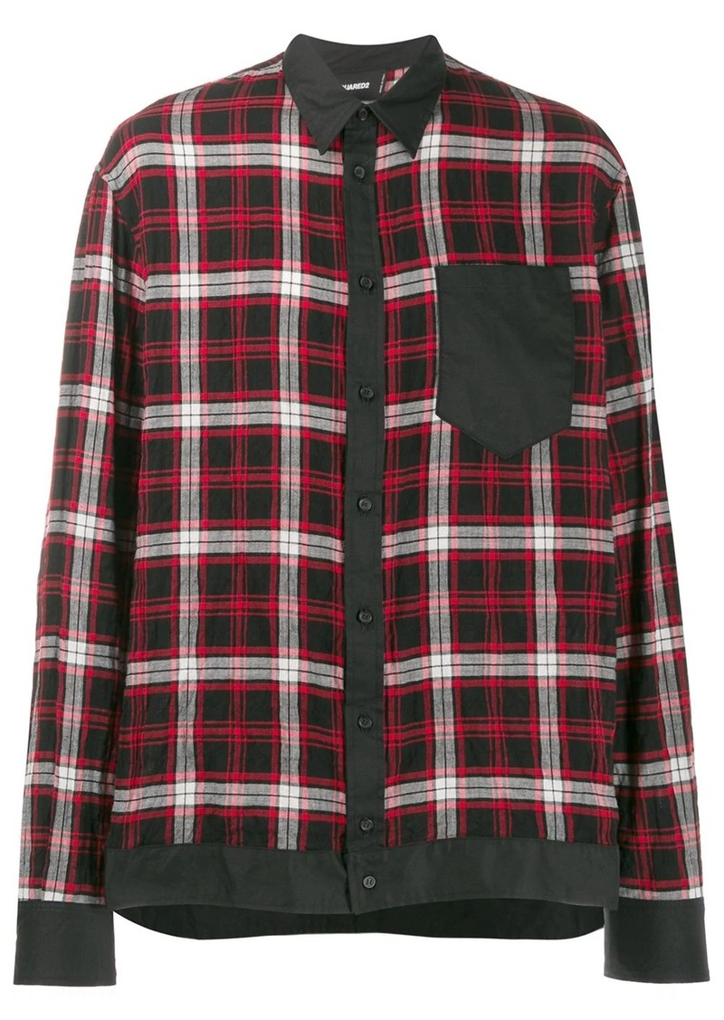 Dsquared2 contrast trim plaid shirt