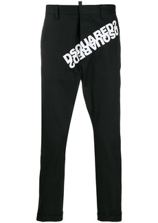 Dsquared2 contrasting logo print tailored trousers